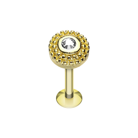 Labrets - Gold Plated Round Sparkle