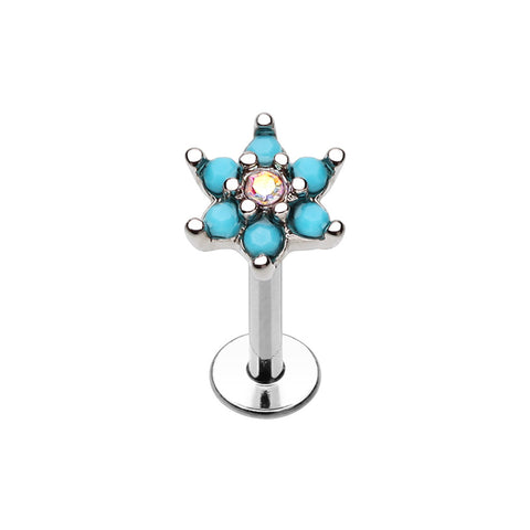 Labrets - Surgical Steel With Spring Turquoise Flower