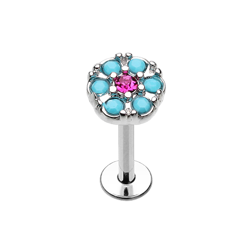 Labrets - Surgical Steel With Turquoise Flower