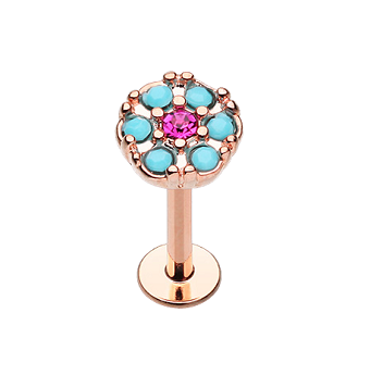 Labrets - Rose Gold Plated With Turquoise Flower
