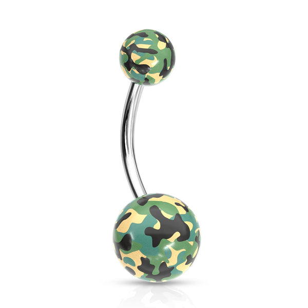 Belly Ring - Acrylic Camouflage