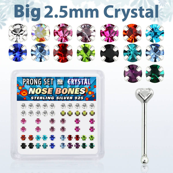 Nose Studs - 52 Piece With 2.5mm Gem