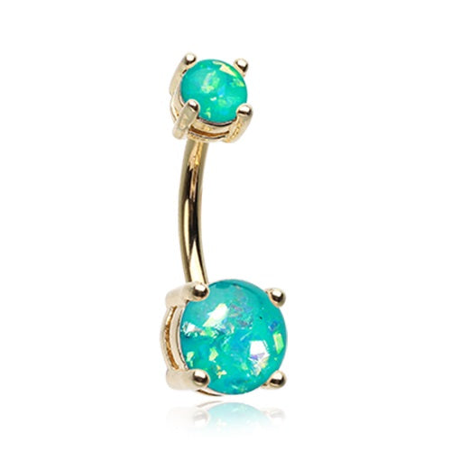 Belly Ring - Gold Plated Glitter Opal