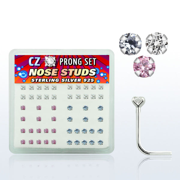 Nose Studs - 52 Piece With 2mm Gem