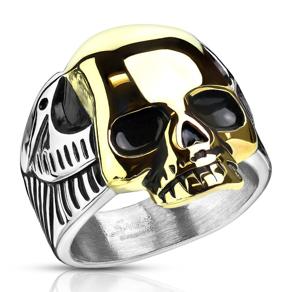 Rings - Two Tone Gold Skull