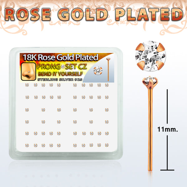 Nose Studs - 52 Piece Rose Gold Plated