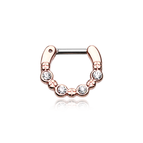 Septum Clicker - 4 Gem Gold or Rose Gold Plated
