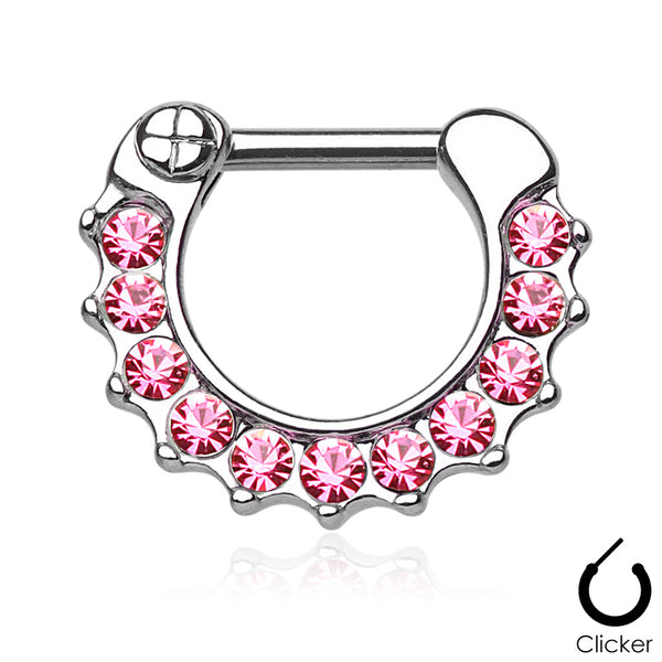 Septum Clicker - Prong-Set Jewelled