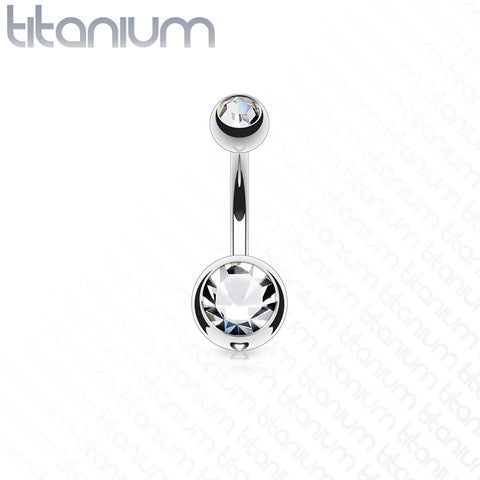 Belly Ring - Double Jewel Titanium
