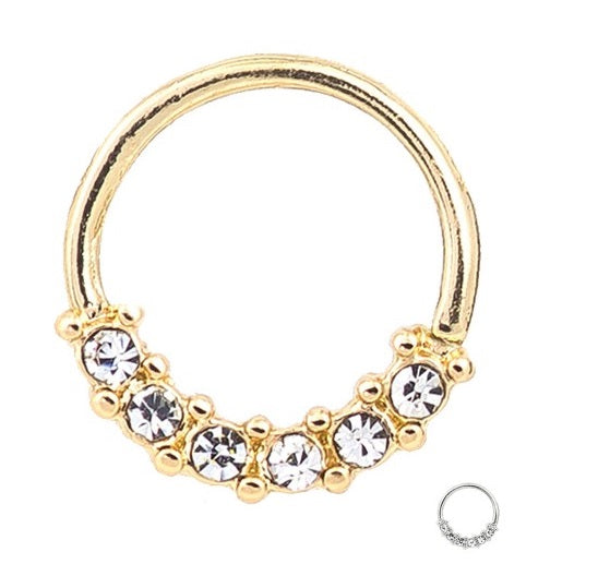 Cartilage - Gold Plated or Rose Gold Hoop 6 CZ
