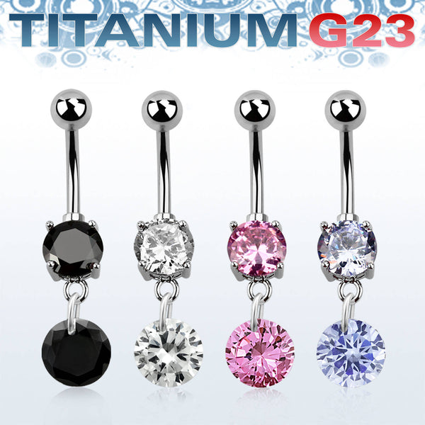 Belly Ring - Titanium Drop CZ