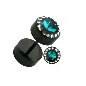 Faux Plugs - Blackline With Center Gem