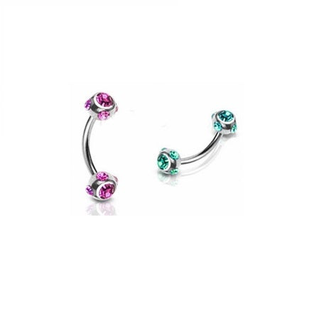 Curved Barbell - Surgical Steel With 5 Gem Ball