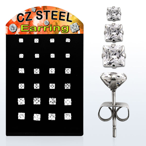 Earrings - CZ Display Board - Clear