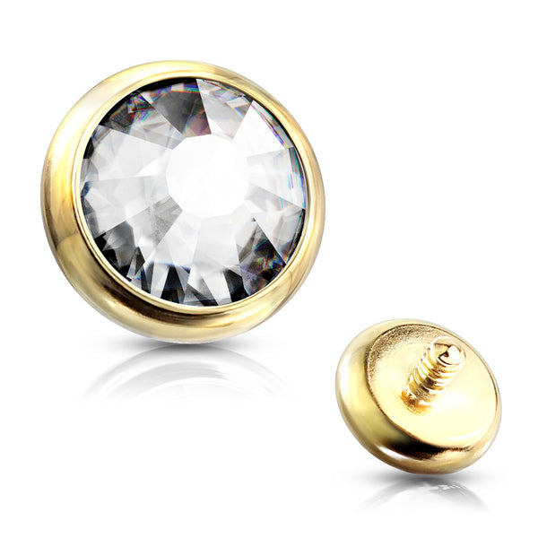 Dermal Anchor - Jewelled Disk Gold