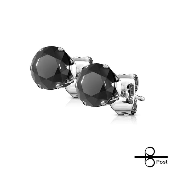 Earrings - Stainless Steel Black Gems Round