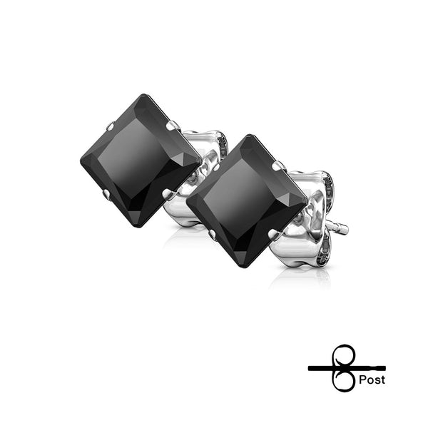 Earrings - Stainless Steel Black Gems Square