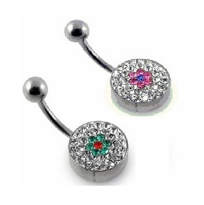 Belly Ring - Tiffany Steel Back Flower