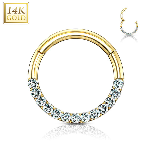 Septum - 14 Karat Gold Jewelled Clicker