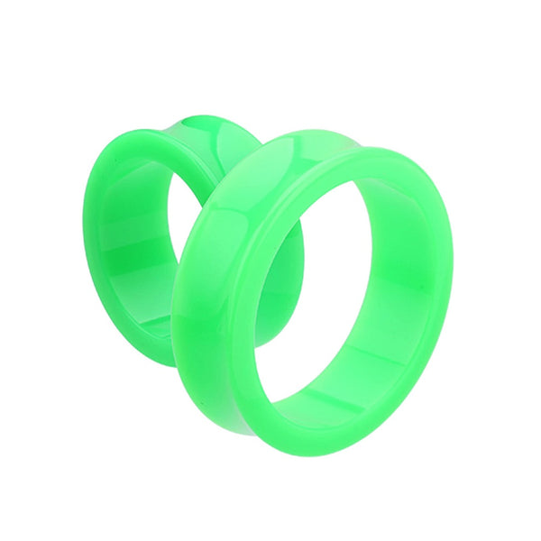 Tunnels / Plugs -  Supersize Green Acrylic Double Flare