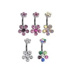 Belly Ring - H 6 Gem Flower