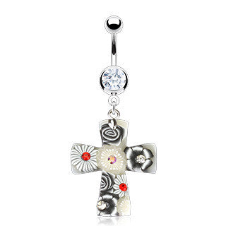 Belly Ring - H Murano Cross