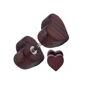 Faux Plugs - Wood Heart