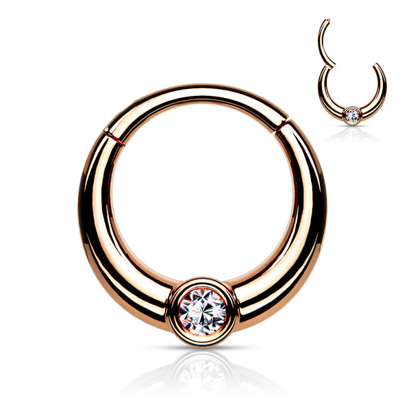 Segment Ring - Hinged Single Gem Front Facing