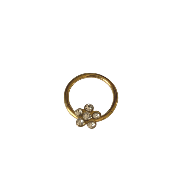 Segment Ring - Hinged Gold Plated With Flower
