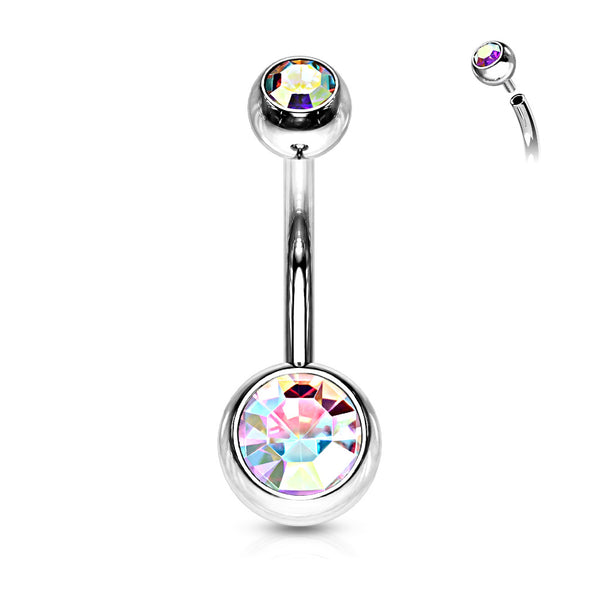 Belly Ring - Internally Threaded Double Jewel