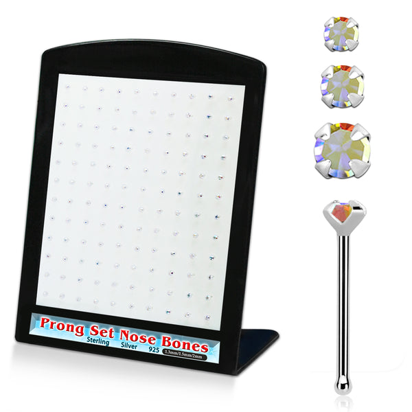 Nose Studs - 120 Piece AB Gems