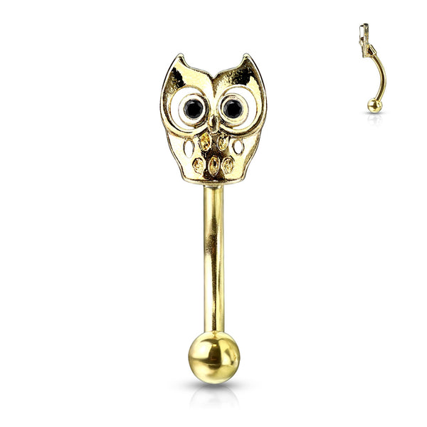 Curved Barbell - Owl - Gold Plated