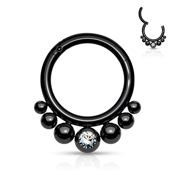 Segment Ring - Hinged Graduated Balls and Gem