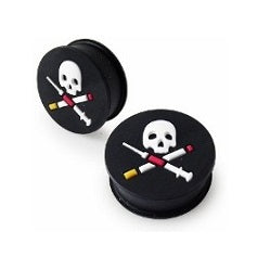 Tunnels / Plugs - Silicone Skull And Crossbones