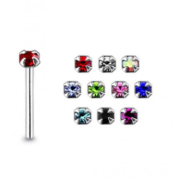 Nose Studs - Box of 20 Prong Set Gems BEND-TO-FIT