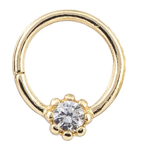 Cartilage - 14k Gold Hoop 1 CZ