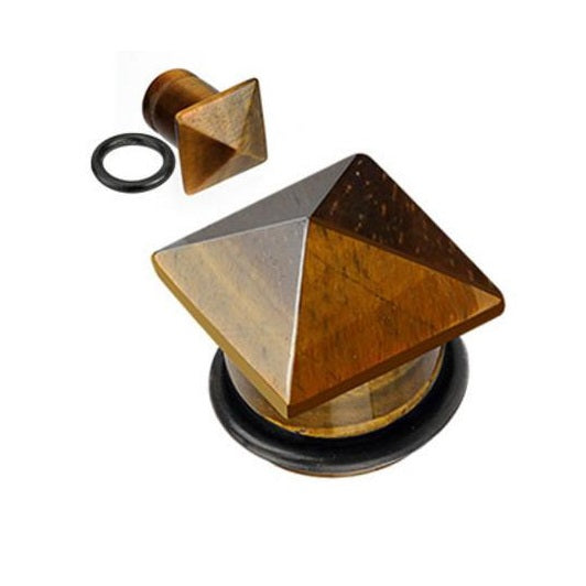 Organics - Pyramid Top Stone Plugs - Tiger's Eye