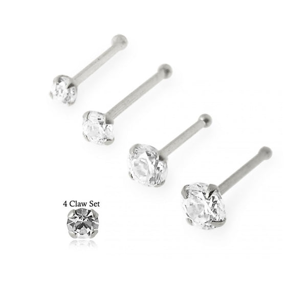 Nose Studs - White Gold Nose Bones