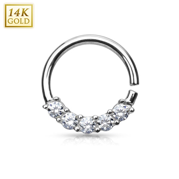 Cartilage - White Gold Hoop 5 CZ
