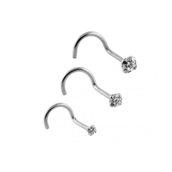 Nose Studs - White Gold Nose Screws