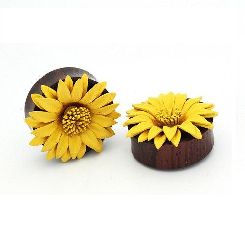 Organics - Supersize Wood Plugs With Leather Sunflower