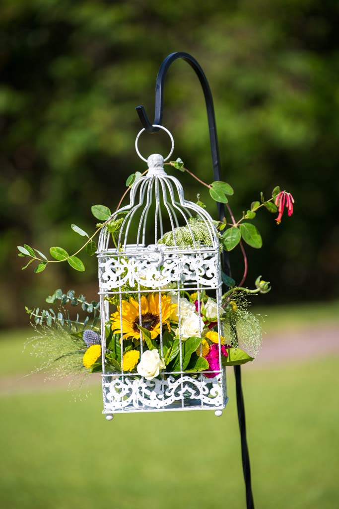 Wedding Flowers | Floral Cage | Sunflowers