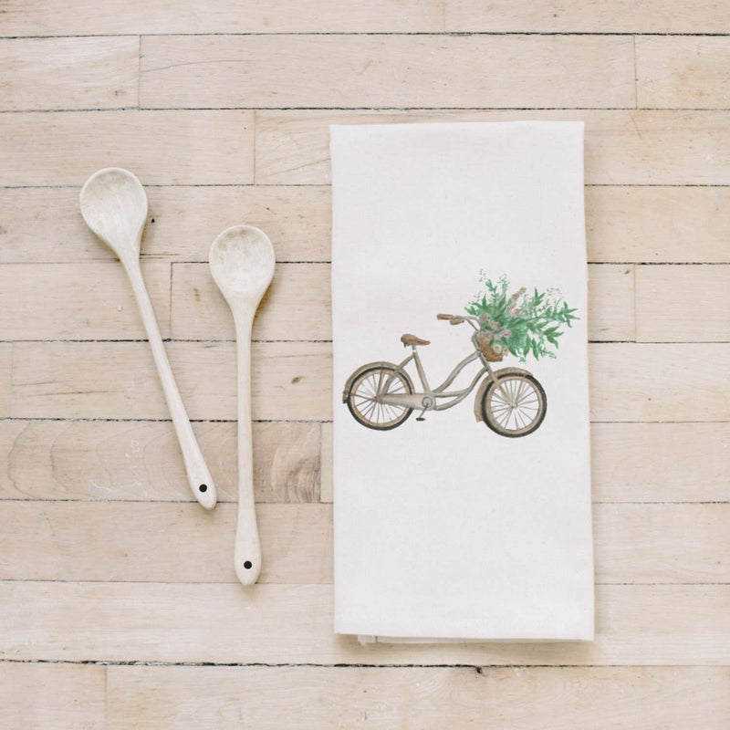 Tea Towel | Floral Bike Watercolor Tea Towel