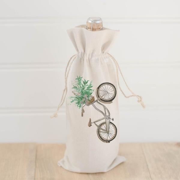 Wine Bag | Floral Bike Watercolor