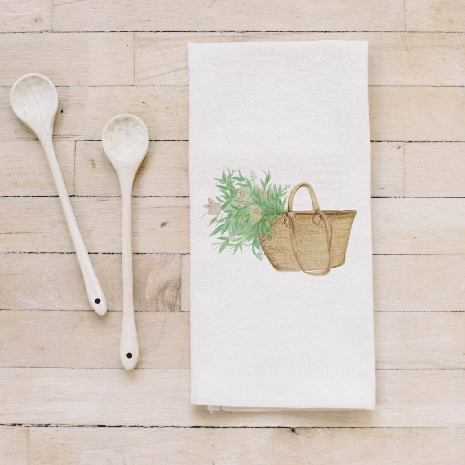 Tea Towel | Market Basket Flowers Watercolor Tea Towel