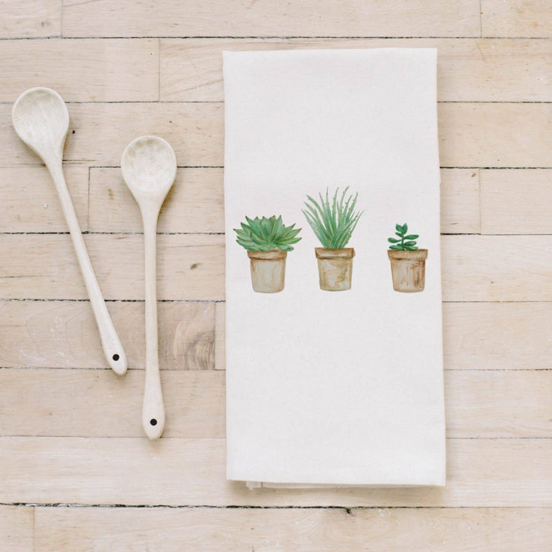 Tea Towel |Succulent Pots Watercolor