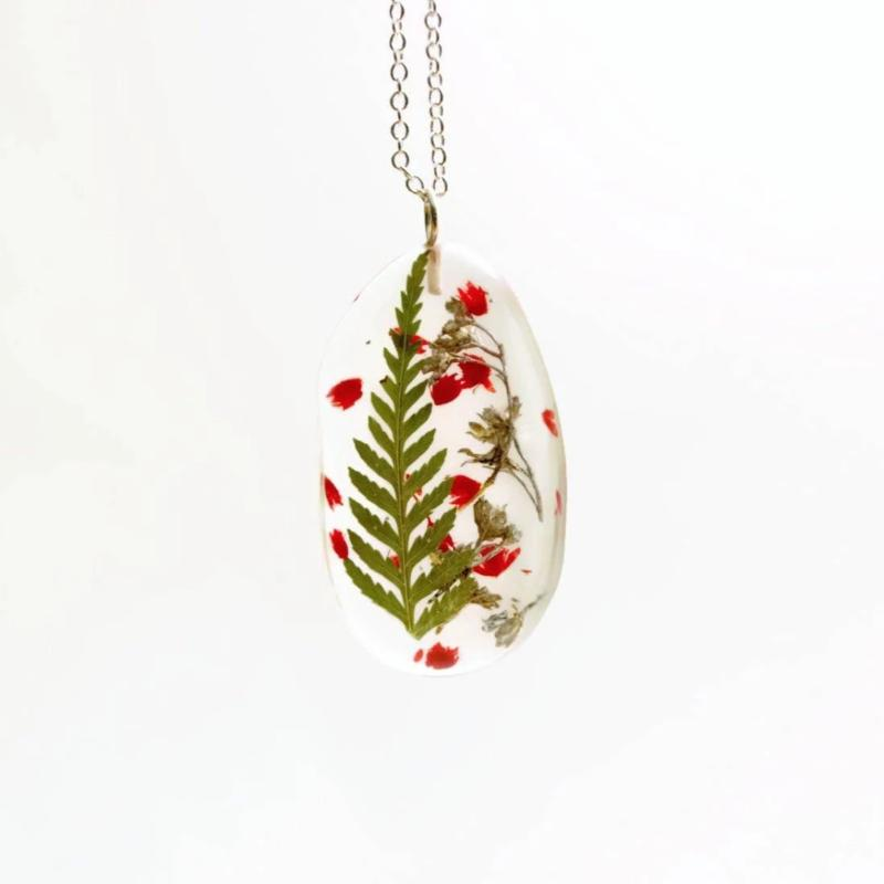 Necklace | Green Fern, Red & Silver Baby's Breath Flowers
