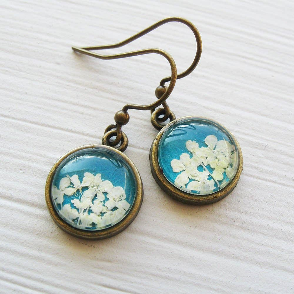 Earrings | Tiny Round Real Queen Annes Lace