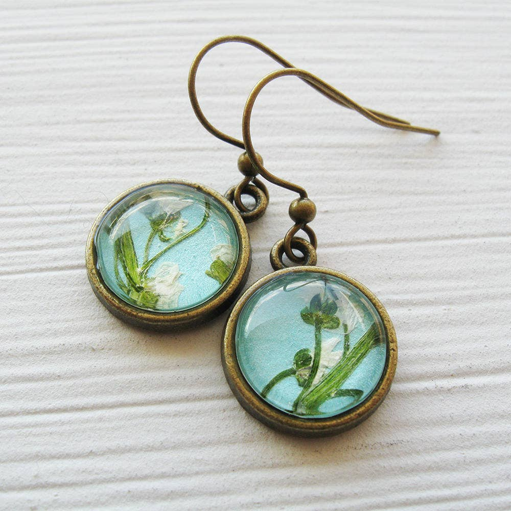 Earrings | Tiny Round Pressed Flower