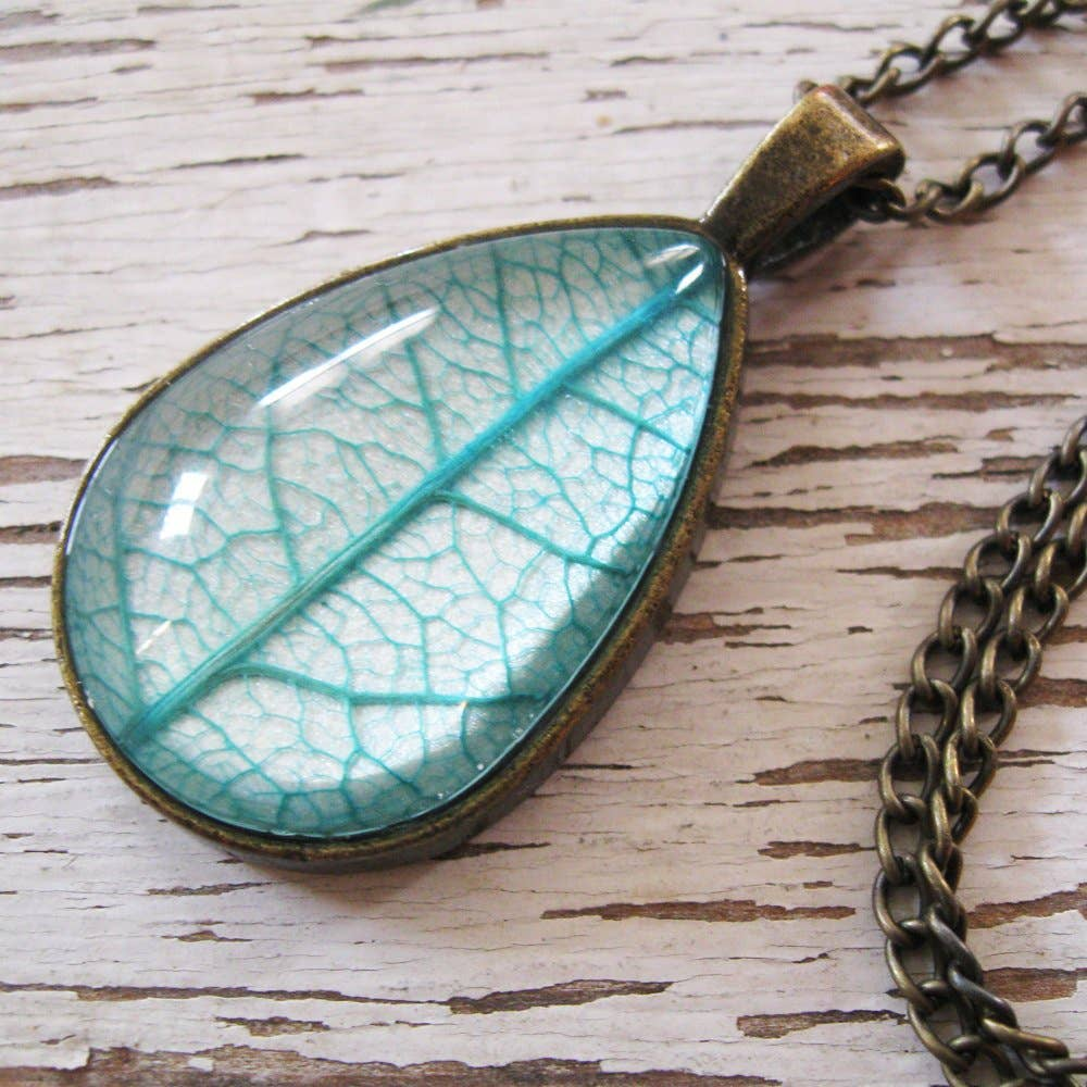 Necklace | Teal and Antique Botanical Teardrop